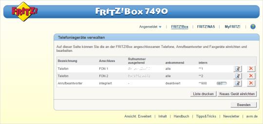 kennwort fritzbox 7490