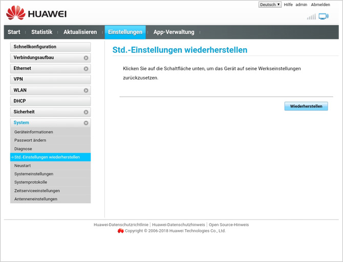 Huawei Gigacube Einrichten
