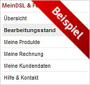 Bearbeitungsstand in MeinDSL