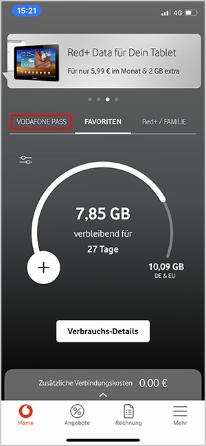 Vodafone Pass tauschen in der MeinVodafone-App Start