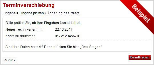 Kontaktnummer für den Dateting-Service