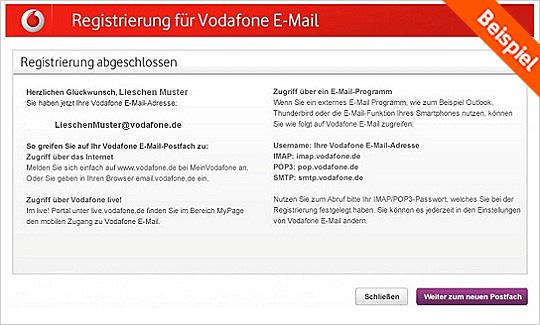 Vodafone E-Mail Adresse