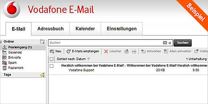 Vodafone E-Mail - Posteingang